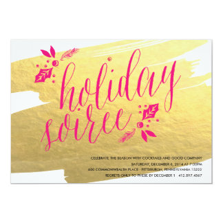 GOLDEN HOLIDAY SOIREE Holiday Party Invitation