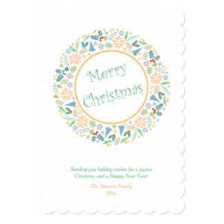 Golden Holiday Wreath Card 13 Cm X 18 Cm Invitation Card