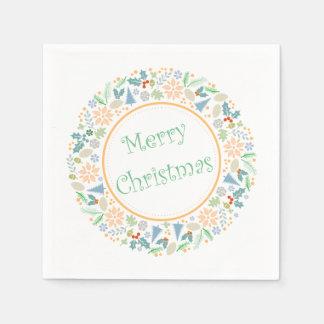 Golden Holiday Wreath Paper Serviettes