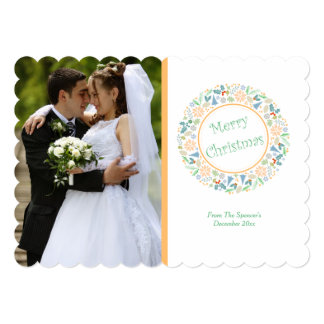 Golden Holiday Wreath Photo 13 Cm X 18 Cm Invitation Card