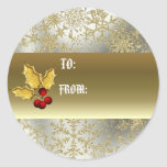 Golden holly gift tag sticker