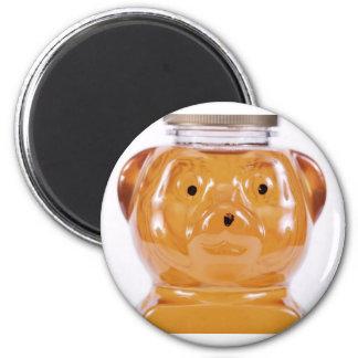 Golden Honey Bear Face View 6 Cm Round Magnet