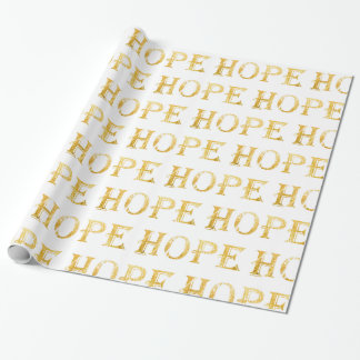 Golden Hope Text  Wrapping Paper, 30 in x 6 ft Wrapping Paper