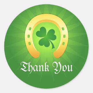 Golden horse shoe clover thank you St Patricks day Round Sticker