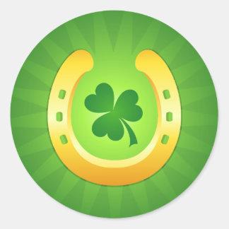 Golden horse shoe green clover St Patrick's day Round Sticker