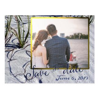 Golden Hour Beach Wedding Save the Date Postcard