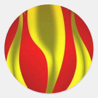 Golden in Crimson Round Sticker