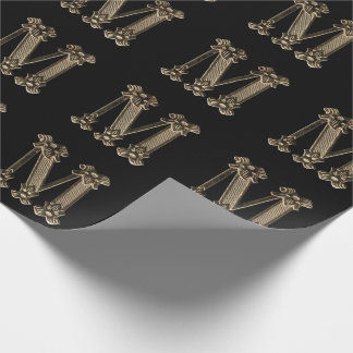 Golden Inital or Monogram M on Black Background Wrapping Paper