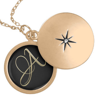 Golden initial A monogram Personalized Necklace