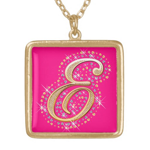 Golden Initial E - Pink Necklace