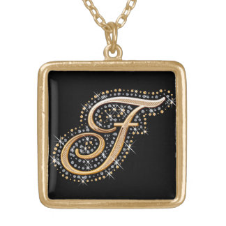 Golden Initial F - Necklace