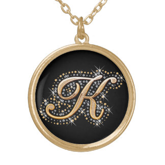 Golden Initial ''K'' with Diamonds - Necklace