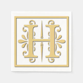 Golden Initial Letter H Monogram Disposable Napkin