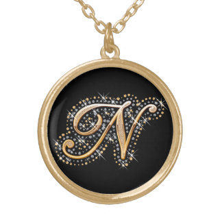 Golden Initial ''N'' with Diamonds - Necklace