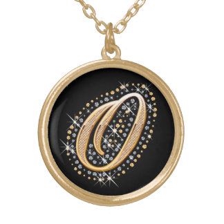 Golden Initial ''O'' with Diamonds Necklace