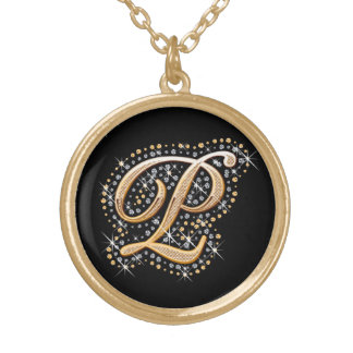 Golden Initial ''P'' Necklace