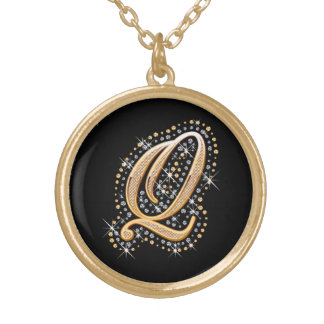 Golden Initial ''Q'' Necklace