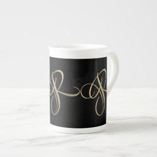 Golden initial R monogram Bone China Mug