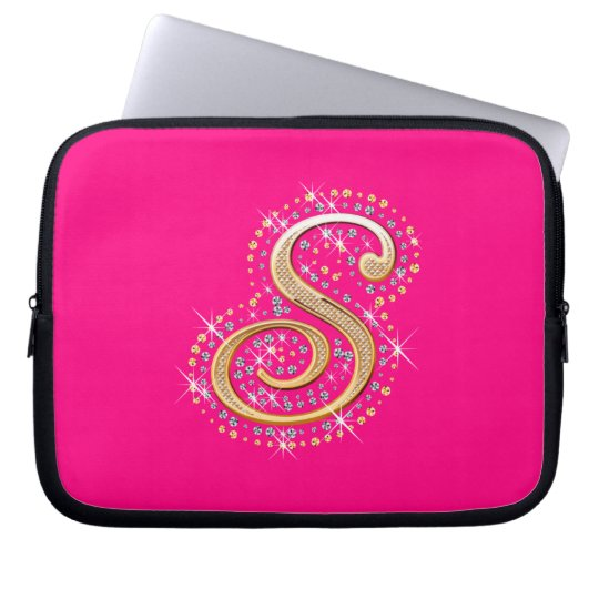 Golden Initial ''S'' Laptop Sleeve