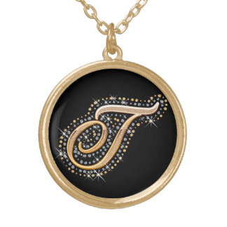 Golden Initial ''T'' Necklace