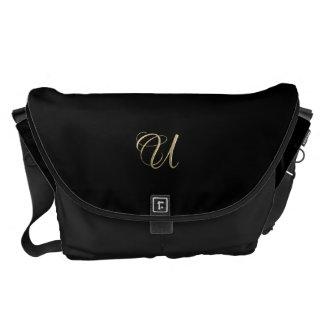 Golden initial U monogram Messenger Bags