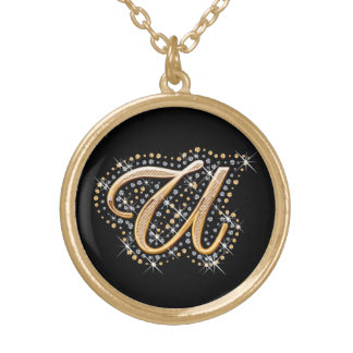 Golden Initial ''U'' Necklace