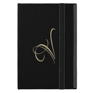 Golden initial V monogram iPad Mini Case