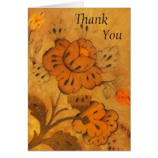Golden Inlay Flowers Thank You  Card