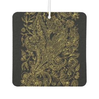 Golden inlayed style  florals car air freshener