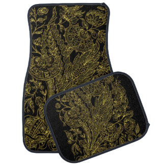 Golden inlayed style  florals car mat