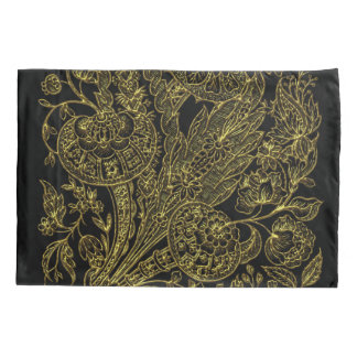 Golden inlayed style  florals pillowcase