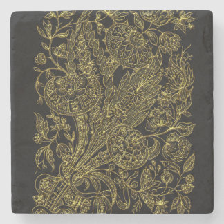 Golden inlayed style  florals stone coaster
