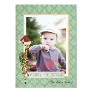 Golden Jade Giraffe Christmas Photo Card 14 Cm X 19 Cm Invitation Card