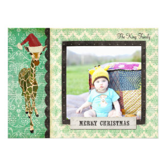 Golden Jade Giraffe Christmas Photo Card