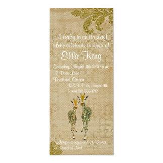 """Golden Jade Giraffes Baby Invitation 4"""" X 9.25"""" Invitation Card"""