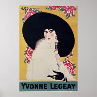 Golden Jazz Age Yvonne Legeay by Gesmar Posters