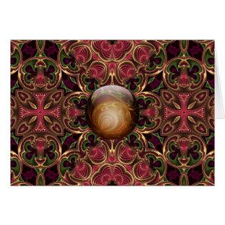 Golden Jewel against Red Tapestry Design, Custom Card