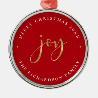 Golden Joy | Red Merry Christmas Metal Ornament