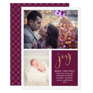 Golden Joy | Two Photo Glam Purple Christmas Card