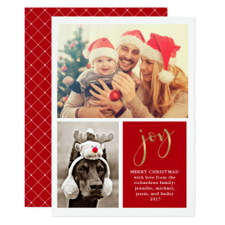 Golden Joy | Two Photo Red Christmas Card