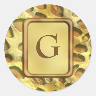 Golden Jungle Print Round Sticker