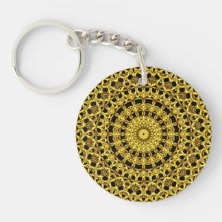 """""""Golden Kaleidoscope"""" Single-Sided Round Acrylic Key Ring"""