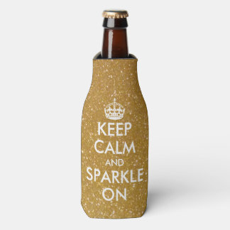 Golden keep calm and sparkle on bottle coolers
