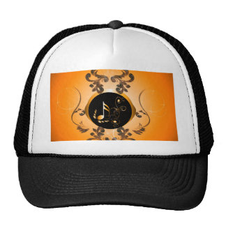 Golden key notes with floral elements trucker hat