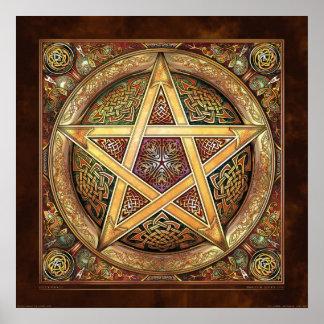 "Golden Knotwork Pentacle Poster (22x22"")"