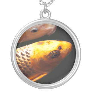 Golden Koi Fish Silver Plated Necklace