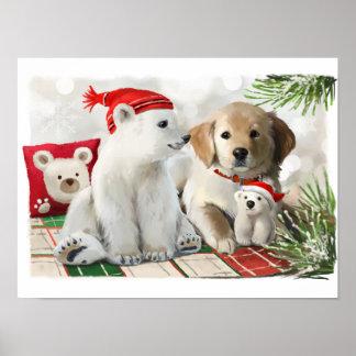 Golden Labrador and the polar bear Poster