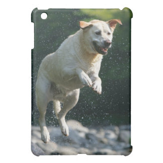 Golden Labrador Retriever jumping into river iPad Mini Covers