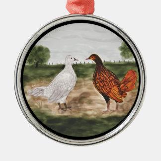 Golden Laced Wyandotte Chickens Tree Ornament