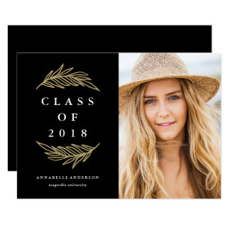 Golden Laurels Graduation Party Photo Invitation